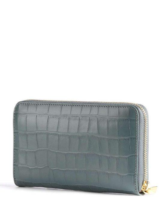 coccinelle metallic croco shiny soft wallet blue grey e2iw6113201 y20 33