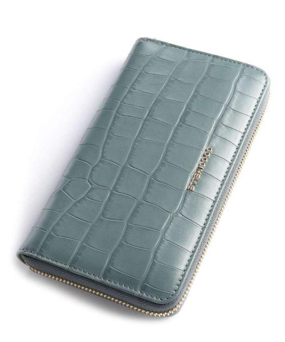 coccinelle metallic croco shiny soft wallet blue grey e2iw6113201 y20 34