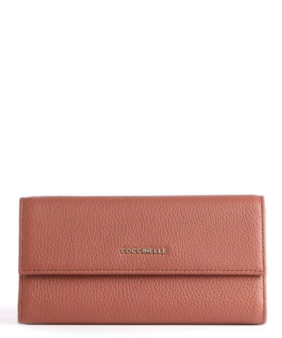coccinelle metallic soft wallet red brown e2iw5114601 r50 31