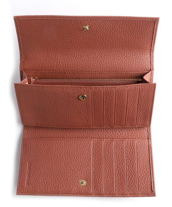 coccinelle metallic soft wallet red brown e2iw5114601 r50 32