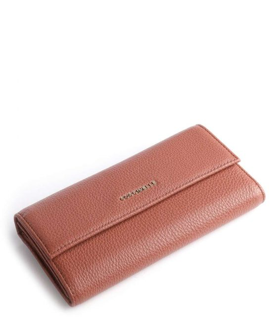 coccinelle metallic soft wallet red brown e2iw5114601 r50 34